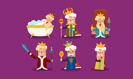 Set of king in different situations standing with staff, sitting on throne, taking bath, drinking wine, holding sword, looking in the mirror. Colorful flat vector icons isolated on purple background.