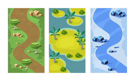 Collection of 3 vertical backgrounds for online mobile game. Colorful seamless scenes with forest path, sandy islands and river. Gaming interface. Cartoon style illustrations. Flat vector design.
