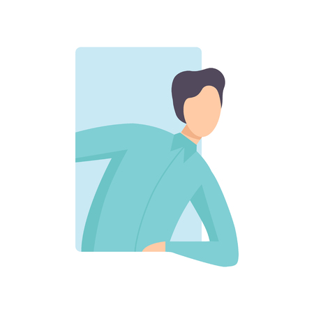 Young man looking out of a rectangular window vector Illustration on a white background.  イラスト・ベクター素材