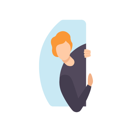 Young man peeping from behind a wall vector Illustration isolated on a white background.