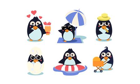 Conjunto de lindos pingüinos. Ave polar del sur con ojos brillantes. Personajes de dibujos animados divertidos. Elementos gráficos para juegos móviles o libros para niños. Coloridas ilustraciones vectoriales planas aisladas sobre fondo blanco. Ilustración de vector