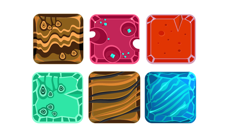 Collection of 6 square tiles with different textures. Gaming assets. Glossy gemstones and ice water. Graphic elements for fantasy computer or mobile game. Vector icons isolated on white background.