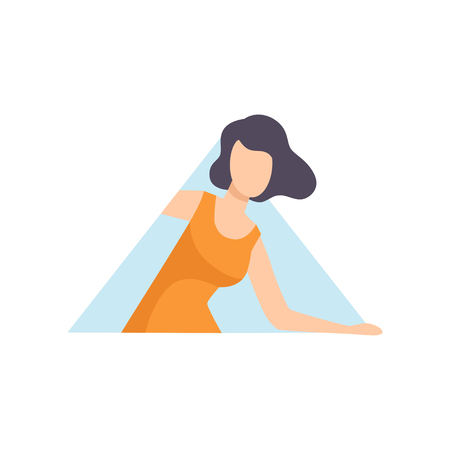 Young brunette woman looking out of a triangular window vector Illustration on a white background