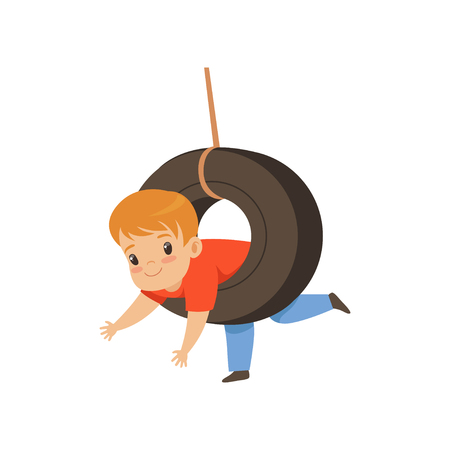 Cute boy riding swing made from tire, little kid having fun on a swing outdoor vector Illustration isolated on a white background.