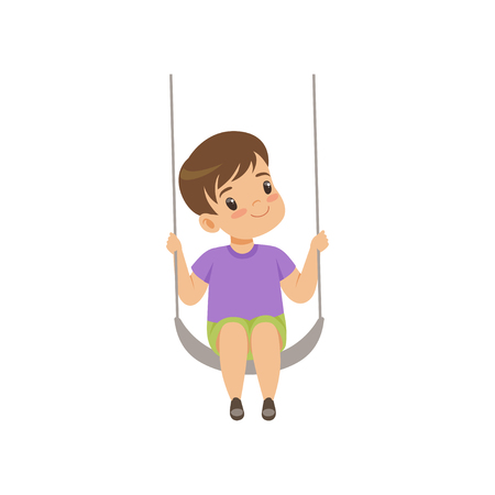 Cute boy swinging on a rope swing, little kid having fun on a swing vector Illustration isolated on a white background.