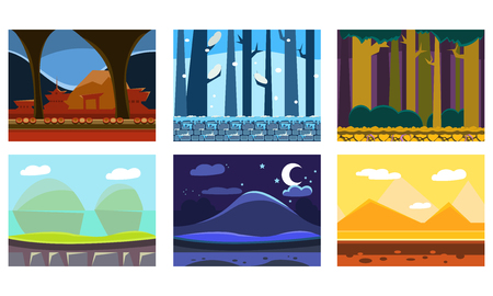 Set of 6 seamless backgrounds for computer or mobile game. Forests, mountains, desert with pyramids. Colorful horizontal landscapes. Gaming interface. Cartoon vector illustrations in flat style.