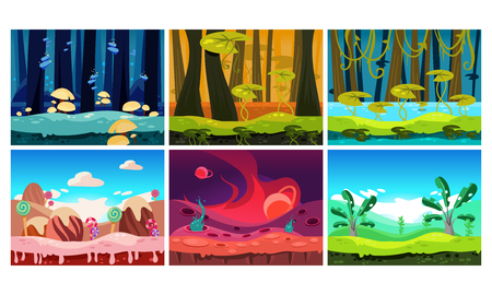 Flat vector set of backgrounds for mobile and computer game. Fantasy world. Sweet land, forests and jungles. Cartoon landscapes Stok Fotoğraf