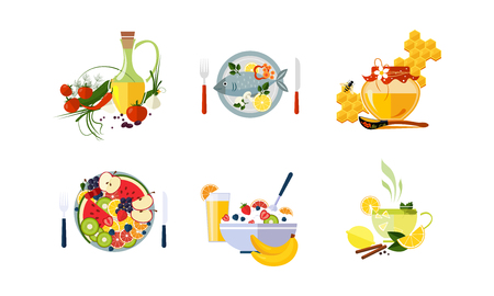 Healthy organic food set, vegetarian menu vector Illustration isolated on a white background. Иллюстрация