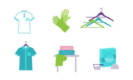 Ensemble d'éléments de blanchisserie, équipements et installations pour laver les vêtements vector Illustration isolé sur fond blanc.