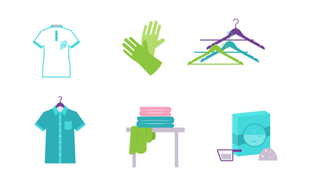 Laundry elements set, equipment and facilities for washing clothes vector Illustration isolated on a white background.