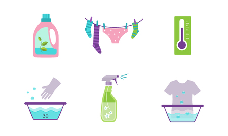 Laundry set, equipment and facilities for washing clothes vector Illustration isolated on a white background.