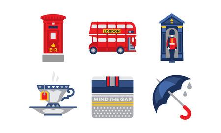 National symbols of England, United Kingdom design elements vector Illustration isolated on a white background. Foto de archivo - 109718671