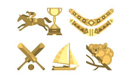 National symbols of Australia, travel to Australia famous landmarks vector Illustration isolated on a white background. 矢量图像