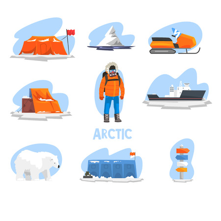 Expedition to the Arctic set, polar explorer, research station, snowmobile, ice breaker, crossroad direction post vector Illustration isolated on a white background.