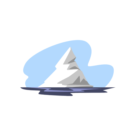 Iceberg floating in the ocean vector Illustration isolated on a white background.