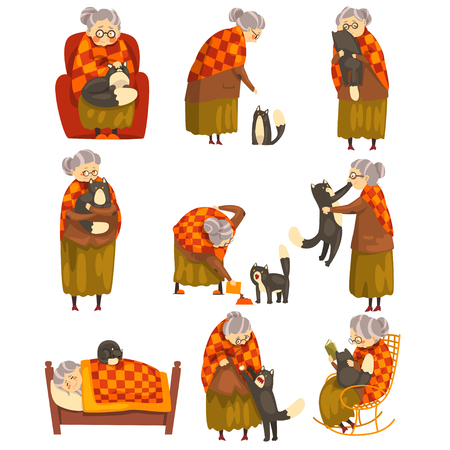 Cute granny and her black cat set, lonely old lady and her animal pet vector Illustration isolated on a white background. Illustration