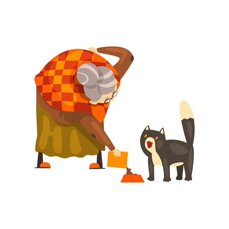 Cute granny feeding her black cat, lonely old lady and her animal pet vector Illustration isolated on a white background.