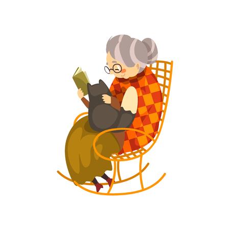 Linda abuela sentada en una acogedora mecedora y leyendo un libro, gato negro acostado de rodillas, anciana solitaria y su mascota animal vector ilustración aislada sobre fondo blanco.