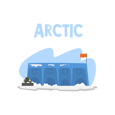 Polar station, expedition to the Arctic vector Illustration isolated on a white background. Illustration