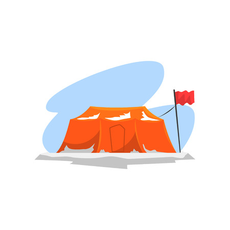 Tourist camp in winter landscape, expedition to the Arctic vector Illustration isolated on a white background.