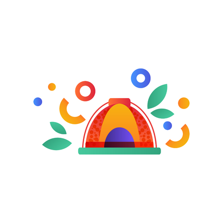 Tent, camping, scouting summer travel equipment vector Illustration isolated on a white background.