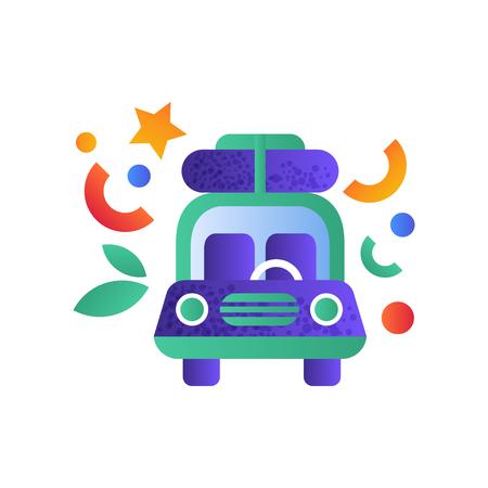 Travel car, vintage camper van vector Illustration on a white background