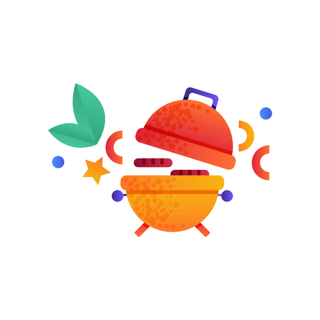 Camping pot over bonfire, summer travel equipment vector Illustration isolated on a white background.
