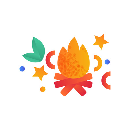 Burning bonfire, campfire, camping scouting element vector Illustration isolated on a white background.