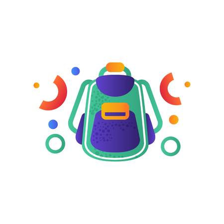 Tourist backpack , camping, summer travel equipment vector Illustration isolated on a white background.