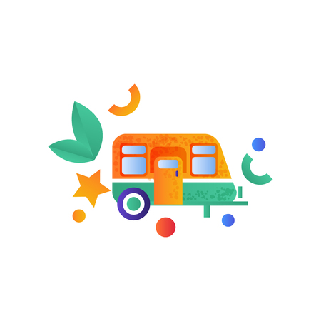 Travel trailer, camping, summer travel equipment vector Illustration isolated on a white background.