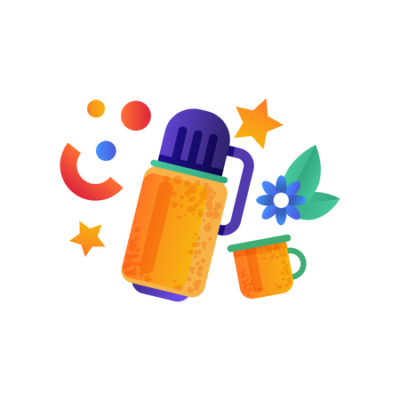 Container bottle and cup, camping, summer travel equipment vector Illustration on a white background Stock Vector - 108985239