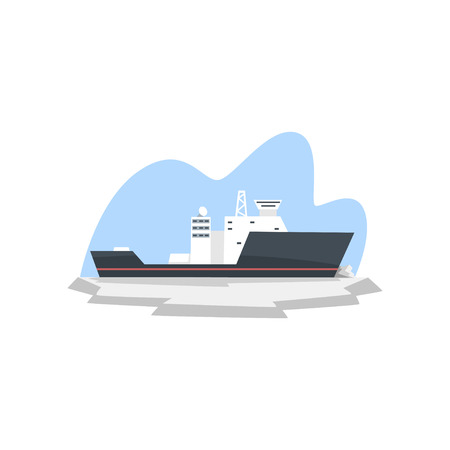 Ice breaker, expedition to the Arctic vector Illustration isolated on a white background.