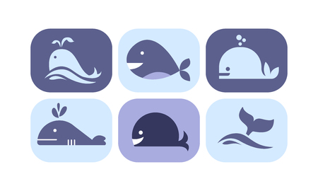 Cute whale icons set, sea creature animals signs in blue colors vector Illustration isolated on a white background.