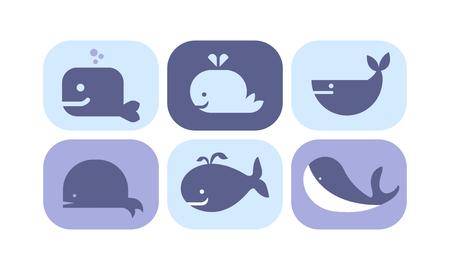 Ensemble d'icônes mignon baleine bleue, signes d'animaux de créature de mer vector Illustration isolé sur fond blanc.