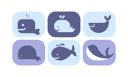 Cute blue whale icons set, sea creature animals signs vector Illustration isolated on a white background.