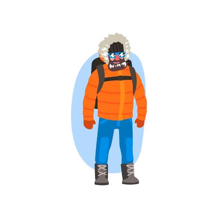 Männlicher Polarforscher in der Winterkleidung, Expedition zur arktischen Vektorillustration lokalisiert auf einem weißen Hintergrund.