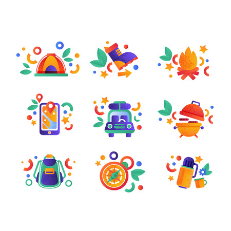 Collection of travel and camping equipment, summer travel elements vector Illustration isolated on a white background.