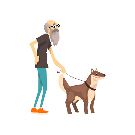 Grandfather walking with his dog, lonely senior man and his animal pet vector Illustration isolated on a white background. Иллюстрация
