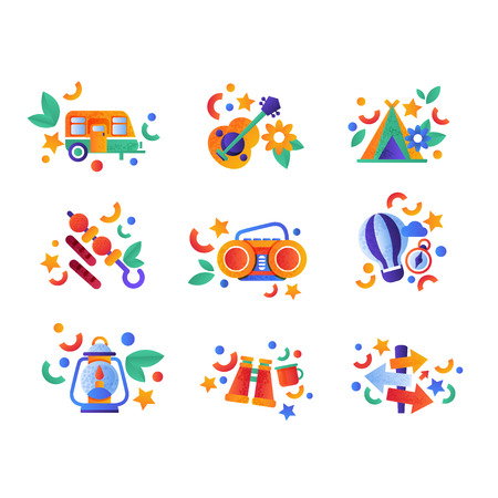 Collection of travel and camping equipment, colorful summer travel icons vector Illustration isolated on a white background.