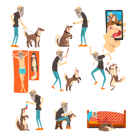 Grandfathe and his dog set, lonely senior man and his animal pet in different situations vector Illustration isolated on a white background.