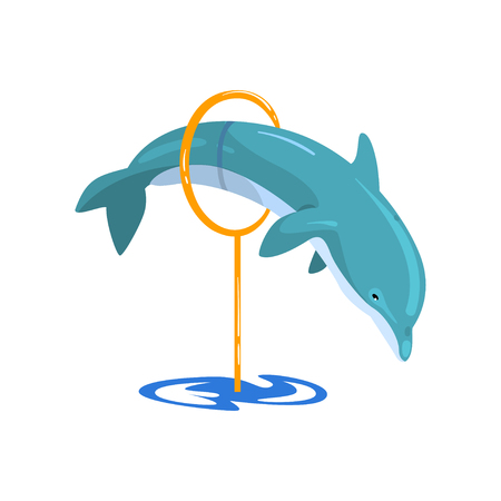 Dolphin jumping through a ring, sea animal performing in public in dolphinarium vector Illustration on a white background Stock Illustratie