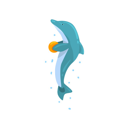 Dolphin, jumping with ball, sea animal performing in public in dolphinarium vector Illustration on a white background Stok Fotoğraf - 109190917