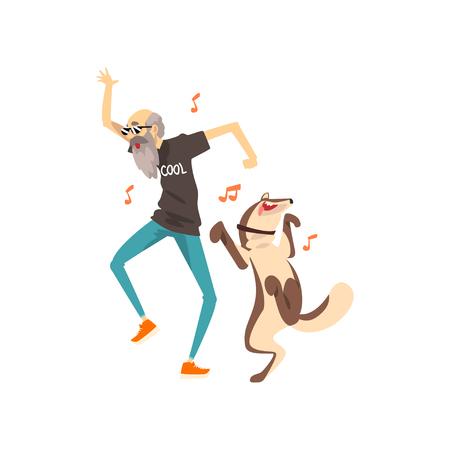 Nonno ascoltando musica e ballando con il suo cane, uomo anziano solitario e il suo animale domestico vettoriale illustrazione isolato su sfondo bianco.