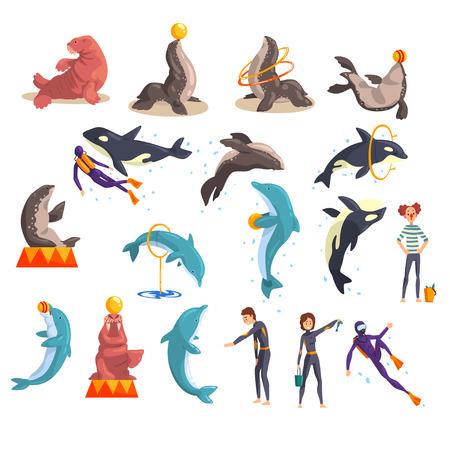 Ensemble d'océanarium ou de delphinarium, animaux de la mer et formateurs exécutant en public dans le vecteur de delphinarium Illustration sur fond blanc Vecteurs