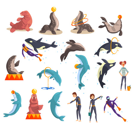Oceanarium or dolphinarium set, sea animals and trainers performing in public in dolphinarium vector Illustration on a white background Stock Illustratie