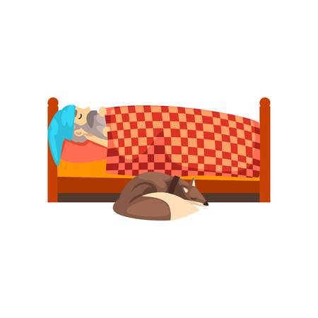 Grandpa sleeping in his bed, the dog lying beside him, lonely senior man and his animal pet vector Illustration isolated on a white background.