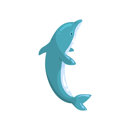Dolphin sea animal jumping vector Illustration on a white background Çizim