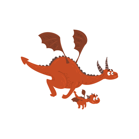 Adult dragon and small baby dragon flying, mother and her child, family of mythical animals cartoon characters vector Illustration isolated on a white background. Stockfoto - 128162375