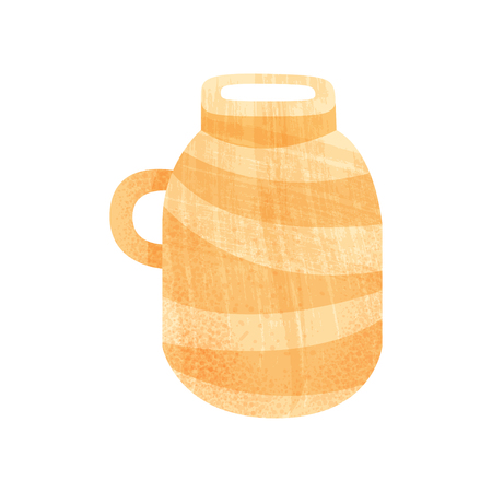 Large ceramic pot with narrow neck and one handle. Big orange vessel for storage liquids. Vintage tableware. Illustration with texture. Colorful flat vector icon isolated on white background.