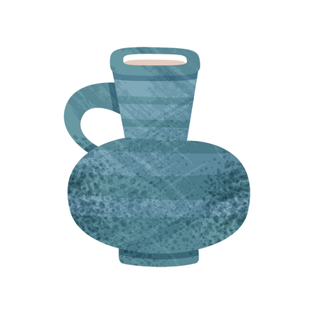 Old blue jug with narrow neck and small handle. Large ceramic container for liquids. Vintage earthenware theme. Icon with texture. Colorful flat vector illustration isolated on white background. Çizim